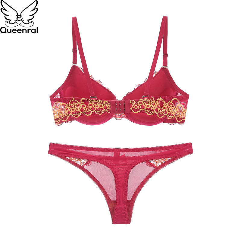 46b1aeb5483bf Queenral Push Up Brassiere Set For Underwear Bra Set Bralette Thong String  Suit Sexy Lace AB Cup Intimates Female Lingerie Set