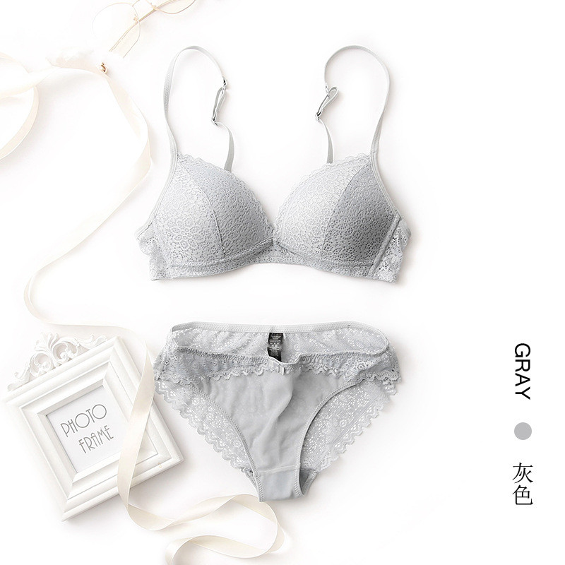 YSANSCA Hot underwear set thin female small wireless bra push up cup tube  top comfortable lace ... 923412978