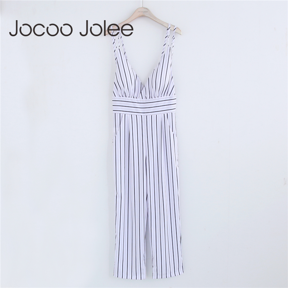 57a6436276 Jocoo Jolee New Jumpsuit Women Striped Clubwear V-Neck Playsuit Sleeveless  Jumper Bodycon ...