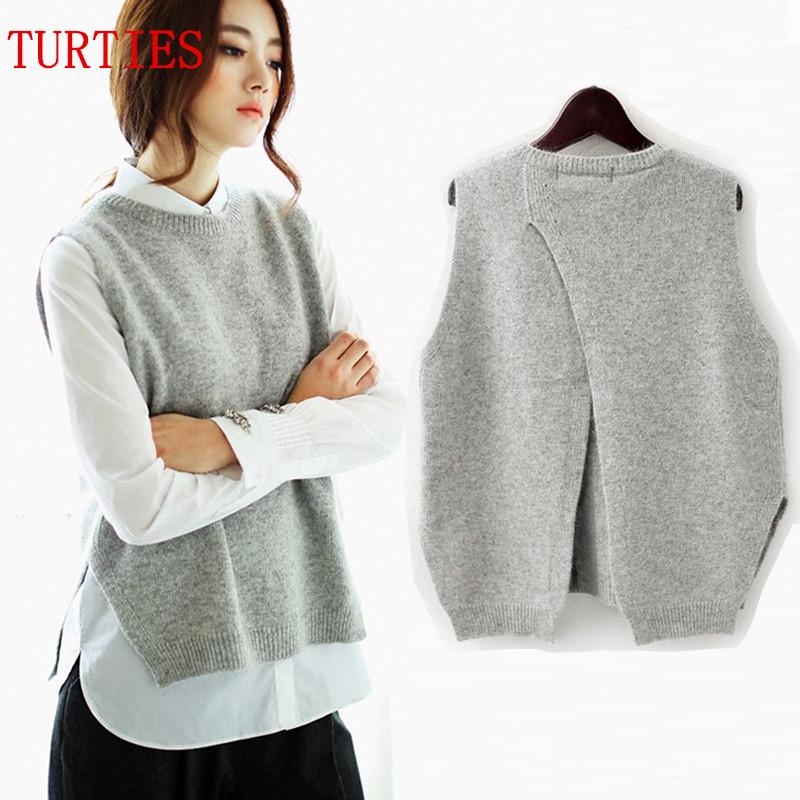 Spring New Cashmere Knit Vest back Split hedging loose Sweater Vest ... 1def88d43