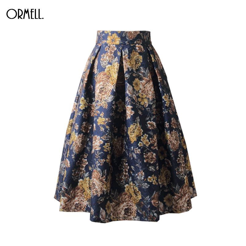 e40c281b07 ORMELL 2017 Women Skirt Vintage Elegant Floral Print High Waist Ball Gown  Female Pleated Midi ...