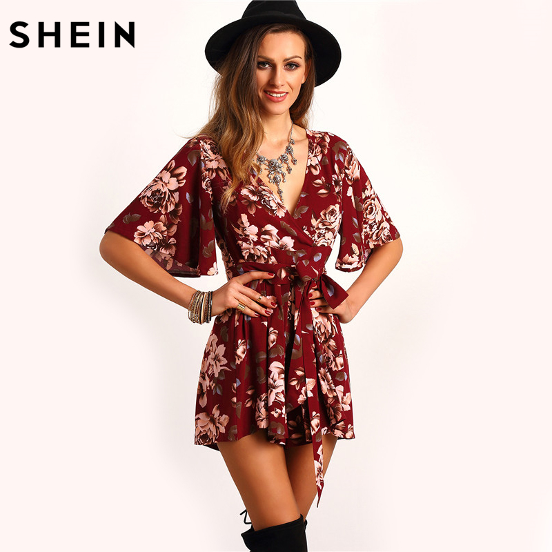 42079e4219c SHEIN Shorts Rompers Womens Jumpsuits Summer Ladies Red Sexy Deep V Neck  Short Sleeve Floral Tie Waist Casual Jumpsuit